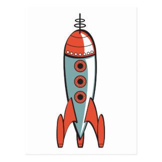 cohete de espacio retro postal