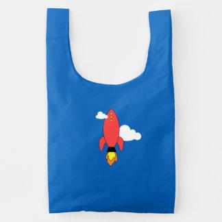 Cohete rojo del dibujo animado bolsa reutilizable