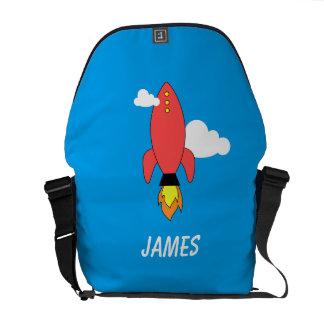 Cohete rojo del dibujo animado bolsas de mensajeria