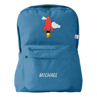 Cohete rojo del dibujo animado mochila