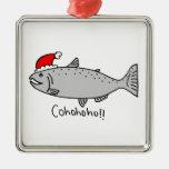 Cohohoho Christmas Salmon Square Metal Christmas Ornament