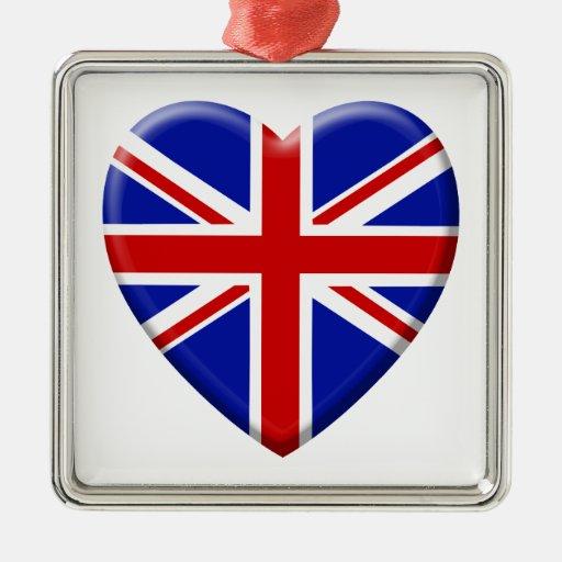 coil flag the United Kingdom England Square Metal Christmas Ornament