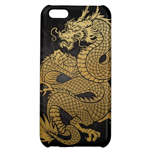 coiled Chinese Dragon Gold on Black Cover For iPhone 5C