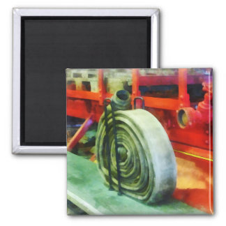 Coiled Hose on Fire Truck 2 Inch Square Magnet