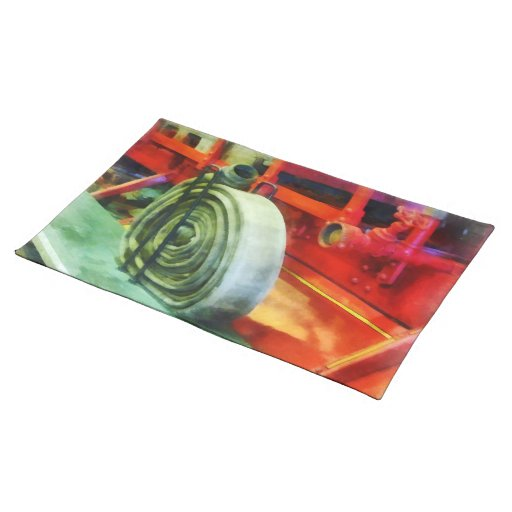 Coiled Hose on Fire Truck Place Mats
