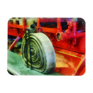 Coiled Hose on Fire Truck Rectangular Magnets