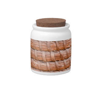 Coiled reed candy jars