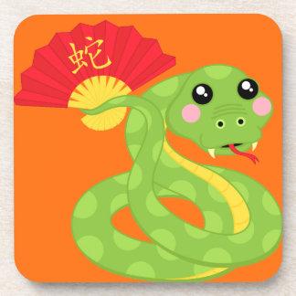 Coiled Snake Holding Fan Beverage Coaster