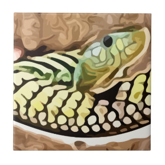 coiled snake painting ceramic tile