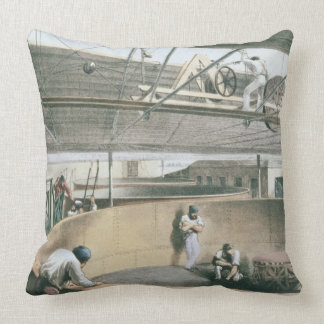Coiling the telegraph cable in the tanks at the wo throw pillows