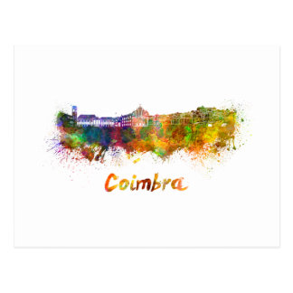 Coimbra skyline in watercolor postcard