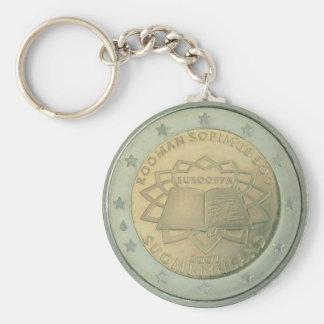 coin basic round button keychain
