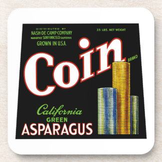 Coin California Asparagus Label Beverage Coaster