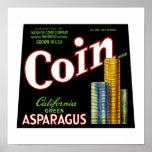 Coin California Asparagus Label Poster