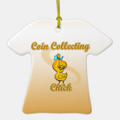 Coin Collecting Chick Double-Sided T-Shirt Ceramic Christmas Ornament