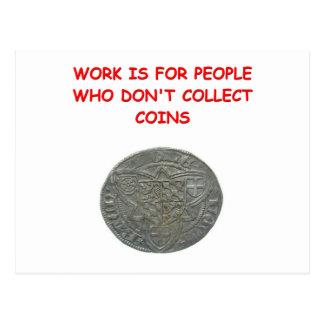 coin collecting postcard