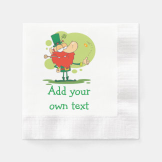 Coin Flipping Leprechaun Add Your Own Text Paper Napkin