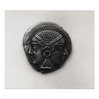 Coin from Lampsacus with a Janiform head Poster