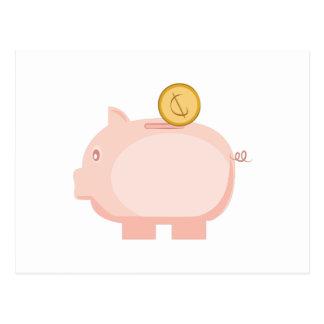 Coin in Piggy Postcard