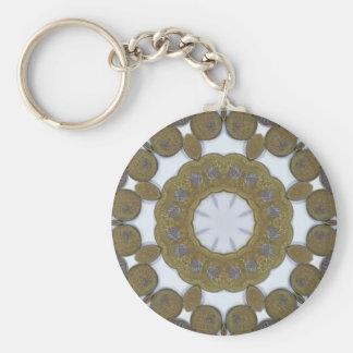 Coin Mandala Basic Round Button Keychain