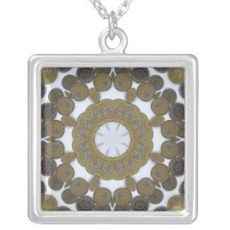 Coin Mandala Square Pendant Necklace