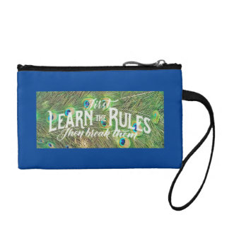 coin purse with photo of peacock feathers & saying
