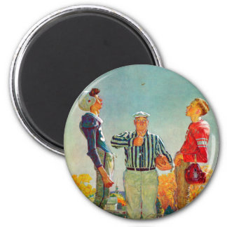 Coin Toss by Norman Rockwell 2 Inch Round Magnet