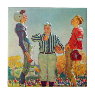 Coin Toss by Norman Rockwell Ceramic Tile