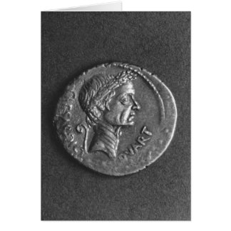 Coin with a portrait of Julius Caesar Greeting Card