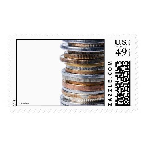 Coins, by Sinisa Botas Postage Stamp
