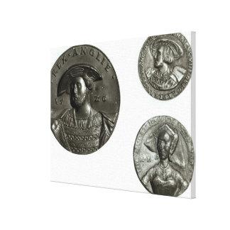 Coins depicting Henry VIII and Anne Boleyn Canvas Print