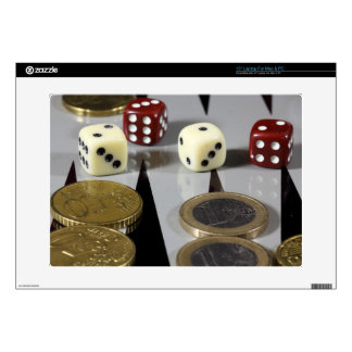 """Coins on a backgammon board decal for 15"""" laptop"""