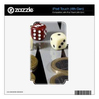 Coins on a backgammon board decal for iPod touch 4G