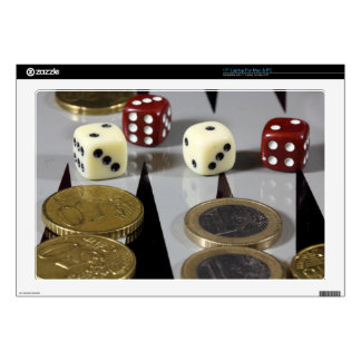 """Coins on a backgammon board decals for 17"""" laptops"""