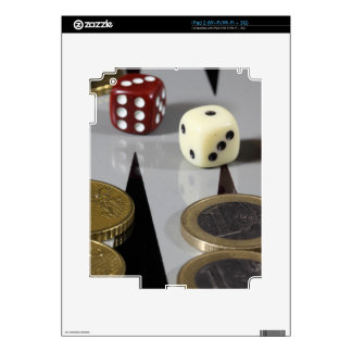 Coins on a backgammon board decals for the iPad 2