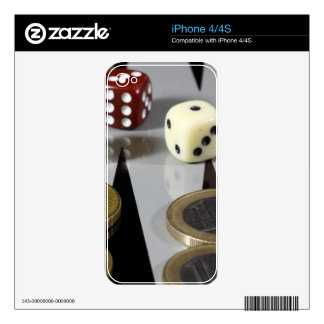 Coins on a backgammon board iPhone 4 decal