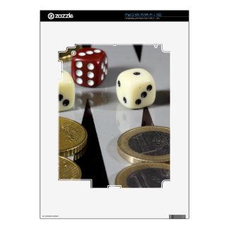 Coins on a backgammon board skin for iPad 2