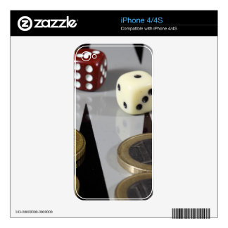 Coins on a backgammon board skin for the iPhone 4