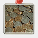 Coins Square Metal Christmas Ornament