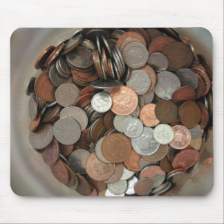 Coins-UK-in-glass-money-pot-gallon-wine-jar-viewed Mouse Pad