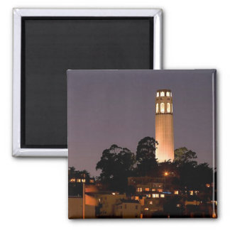 Coit Tower at Night 2 Inch Square Magnet