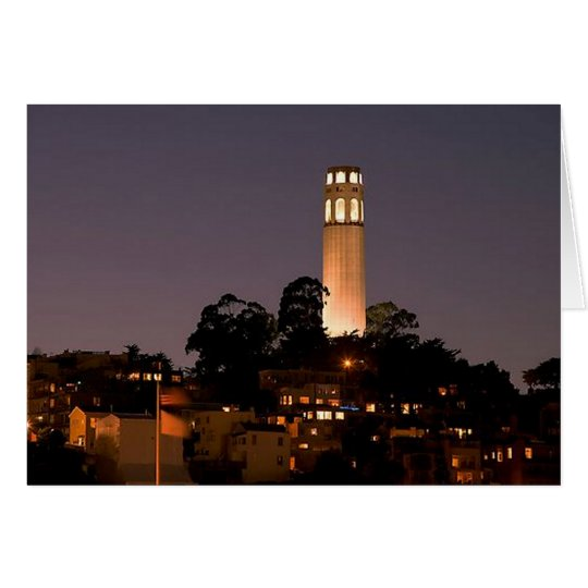 Coit Tower at Night Card