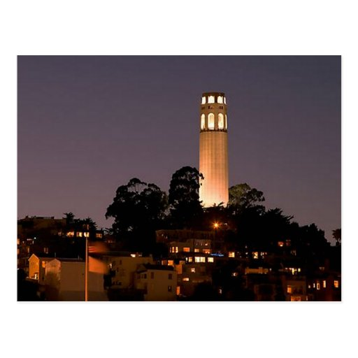 Coit Tower at Night Postcard