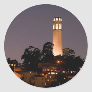 Coit Tower at Night Classic Round Sticker