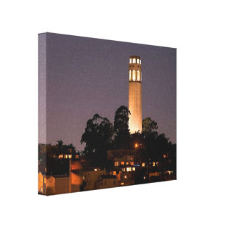 Coit Tower at Night Stretched Canvas Print