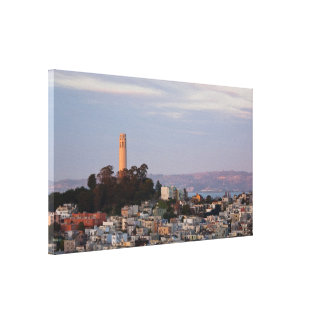 Coit Tower at Sunset Stretched Canvas Print