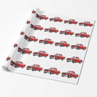 Coja el dibujo animado del coche de bomberos papel de regalo