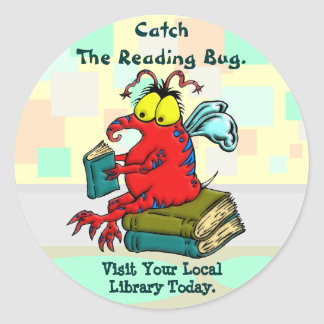 Coja el insecto de la lectura pegatina redonda