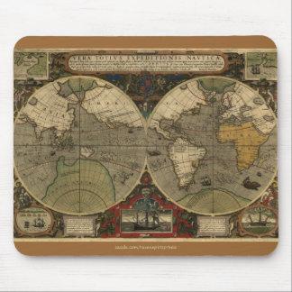 Cojín 1595 de ratón del arte del vintage del mapa tapetes de raton