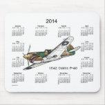 Cojín 2014 de ratón del calendario del aeroplano alfombrilla de ratón